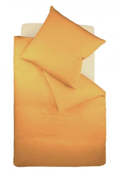 fleuresse colours Mako Satin uni Bettwäsche gold gelb