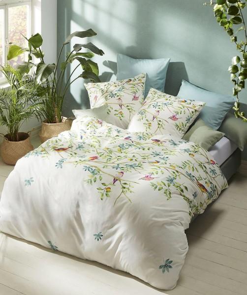Romantische Blumen Bettwäsche mit Vögel und Wendeseite von fleuresse bed art in Grün 135x200