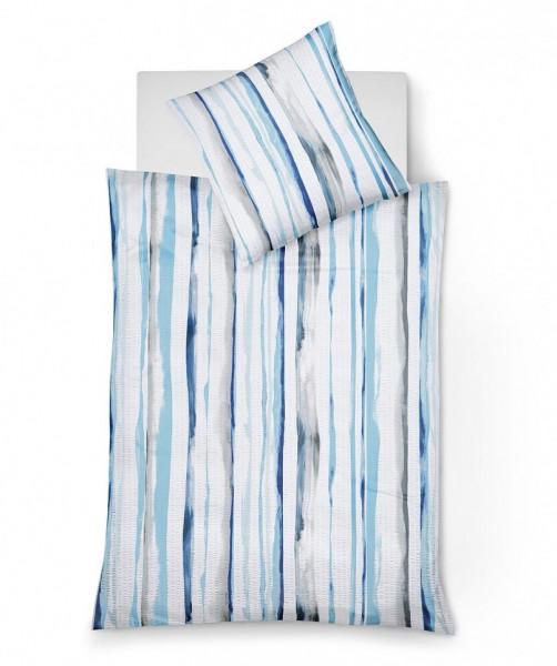 bali gestreifte Seersucker Bettwäsche blau von fleuresse 155x220