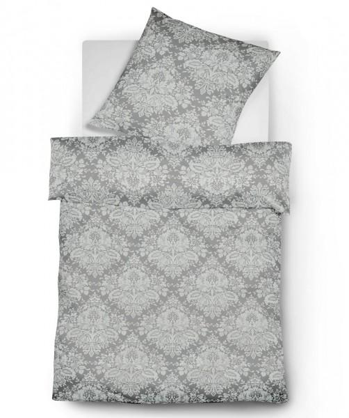 3-teilige graue XXL Bettwäsche Flanell Jacquard Ornamente von fleuresse lech 200x220