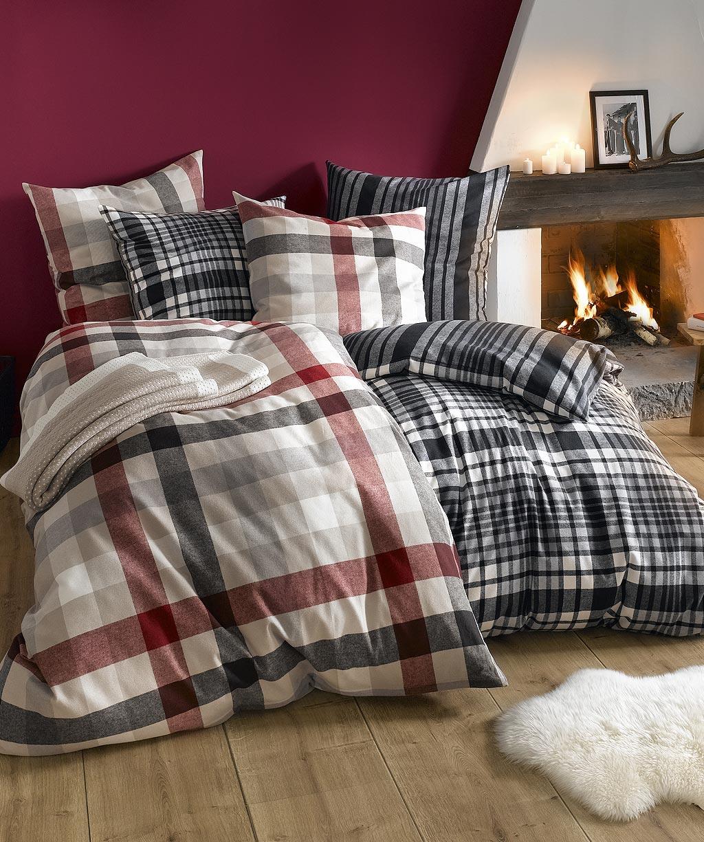 flanell wendebettw sche anthrazit karo streifen von. Black Bedroom Furniture Sets. Home Design Ideas