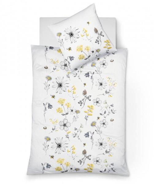 bügelfreie Blumen Bettwäsche fleuresse bali weiß grau gelb in 155x220
