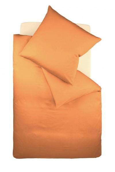 Bügelfreie Bettwäsche Jersey uni fleuresse - orange