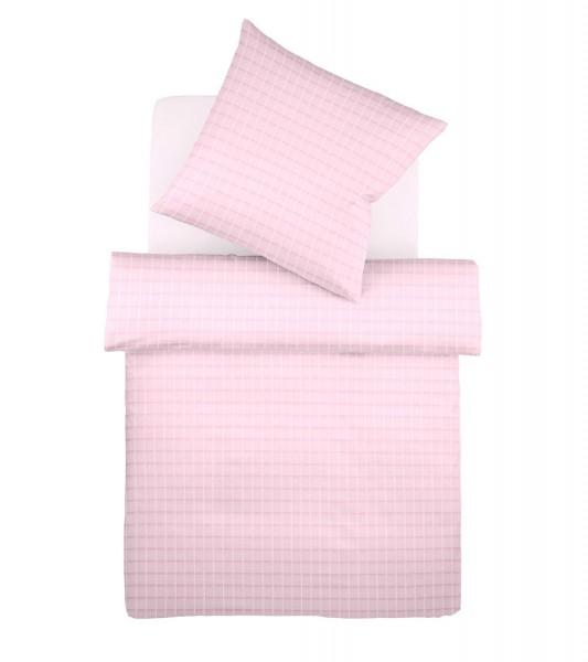 Rosa karierte Sommer Bettwäsche aus leichtem Batist von fleuresse Heidelberg mit Reißverschluss