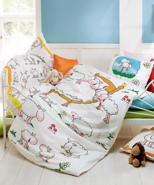 fleuresse kids Gunga Bettwäsche für Kinder mit Schäfchen in Weiß 100x135