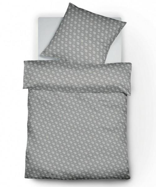 3-teilige Flanell Bettwäsche grau Paisley von fleuresse lech XXL Größe 200x220