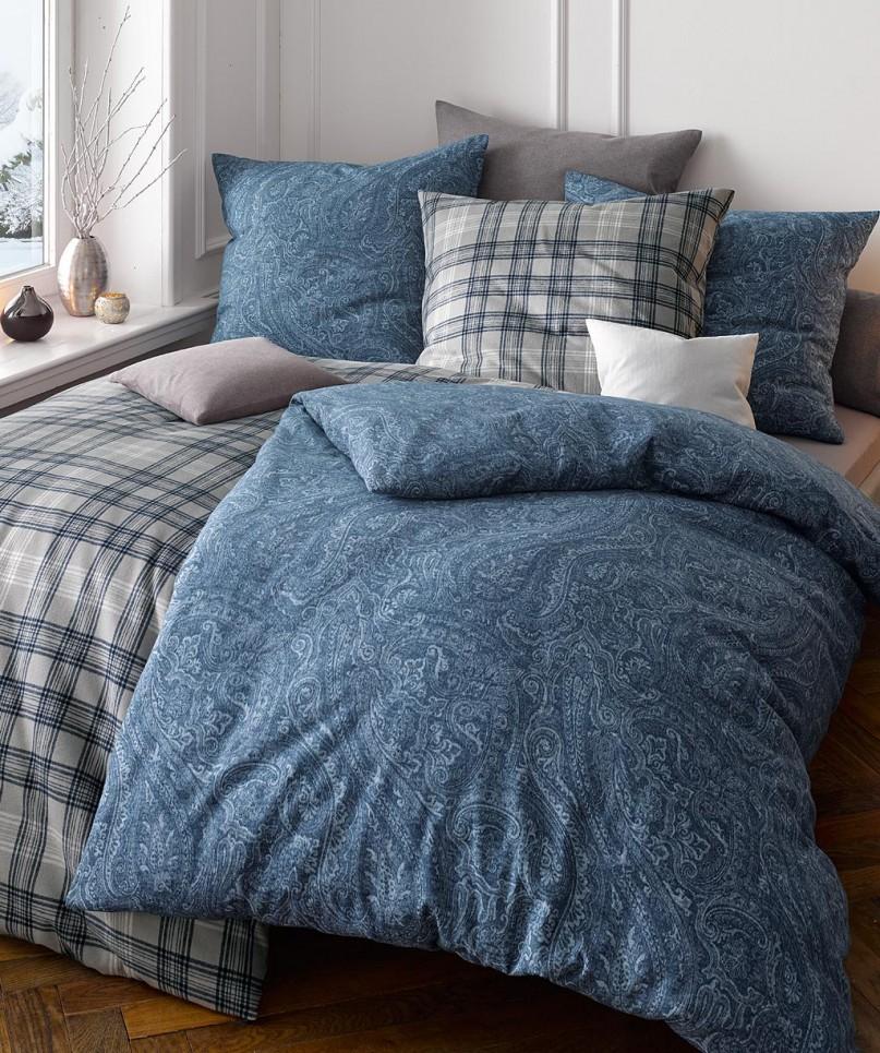 Blaue Flanell Bettwäsche Mit Paisley Design Von Fleuresse Lech In