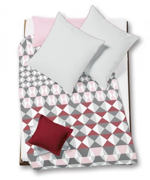 Wendebettwäsche mit Grafik von fleuresse modern life beere grau-rot 155x220