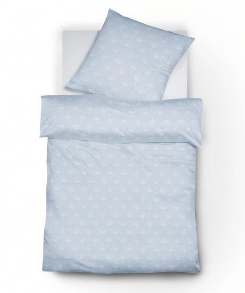 Jacquard Flanell Bettwäsche hellblau Grafik-Muster von fleuresse lech 155x200