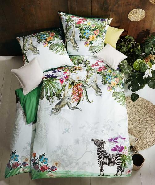 Exotische Mako Satin Bettwäsche mit Zebra und Affen von fleuresse bed art 155x220